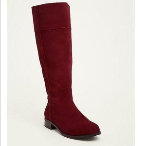 TORRID dark RED burgundy SUEDE BOOTS